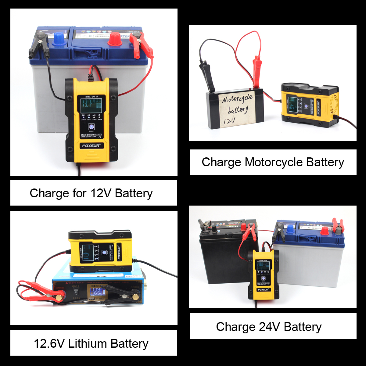 cheapest FOXSUR 12V 24V Car Battery Charger 6A 12 6V Lithium Battery Charger  amp  Maintainer 7-Stage Car  amp  Motorcycle Battery Charger