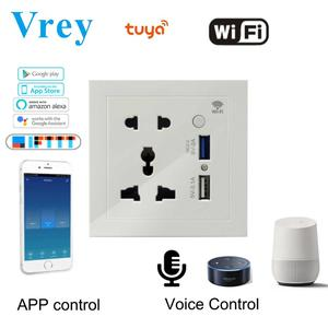 86 Type Full Intelligent WIFI Control Five-hole Socket QC3.0Fast Charging Hotel Office Home Socket With DualUSB Five-hole Socket(China)