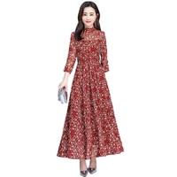 Spring Autumn Flowers Dot Print Dress women 2019 New Fashion Elegant Plus size S 3XL Maxi Party A Line Dress Female NW2173