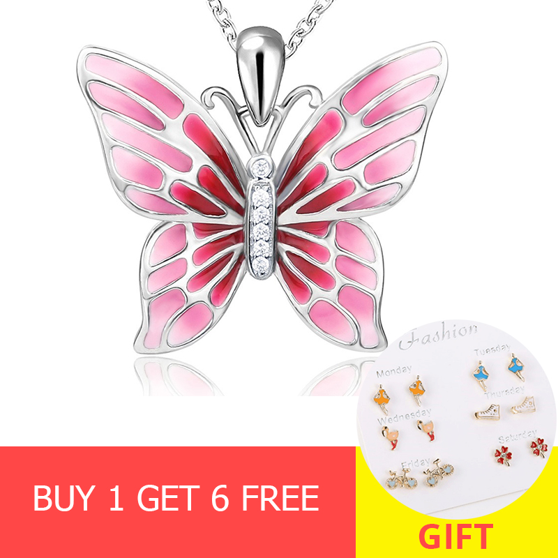100 925 sterling silver cute animal butterfly chain pendant necklace with red enamel diy fashion jewelry making for lover gifts in Chain Necklaces from Jewelry Accessories