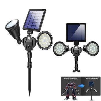 2 Heads 1 set Solar Rotation Spotlights Motion Sensor Lawn / Wall Light Outdoor 36LED Waterproof Wall Hanging & Landscape Light