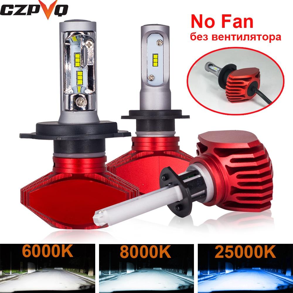 CZPVQ 2 Pcs Fanless H4 H7 LED 6000K 8000K 25000K H1 H8 H9 H11 9005 HB3 9006 HB4 Car Headlight Auto Fog Lamp LED Bulb 8000LM 12V