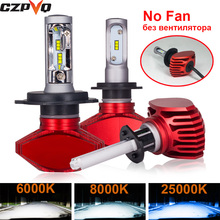 CZPVQ 2 Pcs Fanless H4 H7 LED 6000K 8000K 25000K H1 H8 H9 H11 9005 HB3 9006 HB4 Car Headlight Auto Fog Lamp Bulb 8000LM 12V