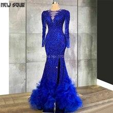 Mermaid Kaftans ROYAL BLUE Beading ชุดราตรีอย่างเป็นทางการ Pageant ชุด 2020 คำดูไบ Robe De Soiree ยาวขนพรหมชุด