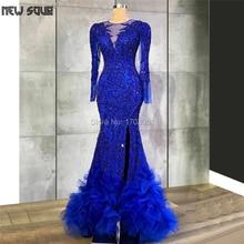 Mermaid Kaftans Royal Blue Kralen Avondjurken Formele Pageant Gown 2020 Arabische Dubai Robe De Soiree Lange Veren Prom Dress