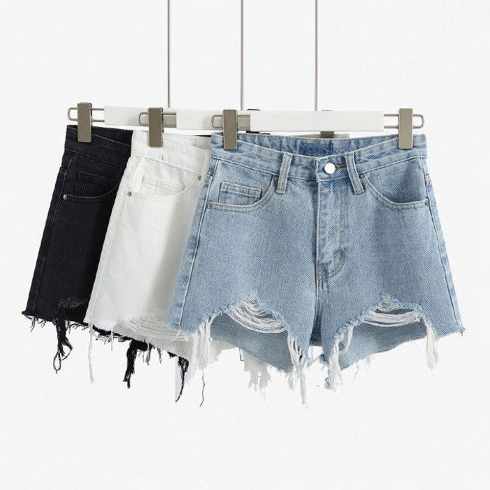DeRuiLaDy 2020 Fashion Women Ripped Denim Shorts Summer Casual High Waist Hot Korean Jean Shorts Sexy Loose Wide-Leg Shorts