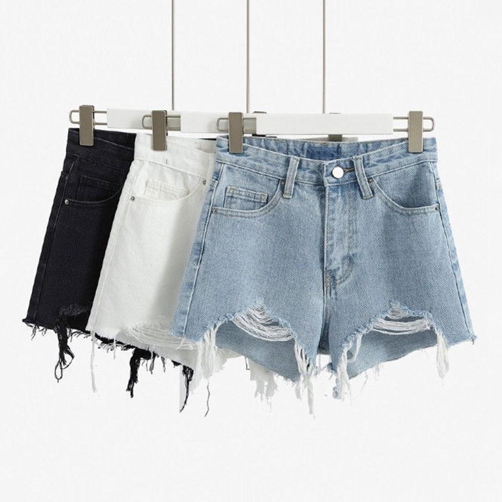 DeRuiLaDy 2020 Fashion Women Ripped Denim Shorts Summer Casual High Waist Hot Korean Jean Shorts Sexy Loose Wide-Leg Shorts