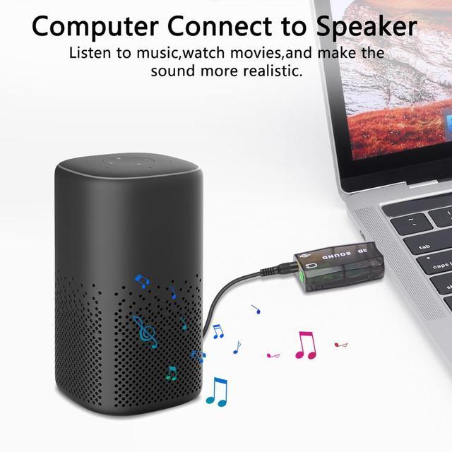 GOOJODOQ External USB Sound Card Adapter Audio 5.1 virtual 3D USB to 3.5mm microphone Speaker headphone Interface For Laptop PC 3