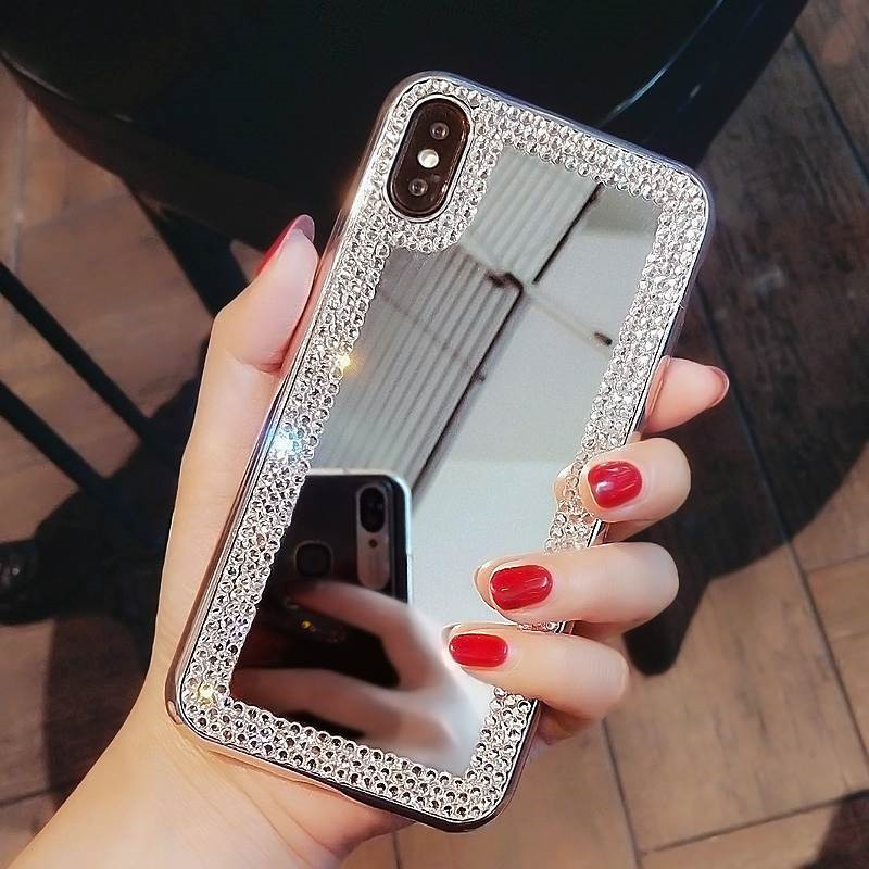 Rhinestone <font><b>Makeup</b></font> Mirror Phone <font><b>Case</b></font> For <font><b>iPhone</b></font> 11 Pro XS MAX XR 8 7 6 <font><b>6S</b></font> <font><b>Plus</b></font> 5S Phone Bag Bling Diamond <font><b>Case</b></font> image