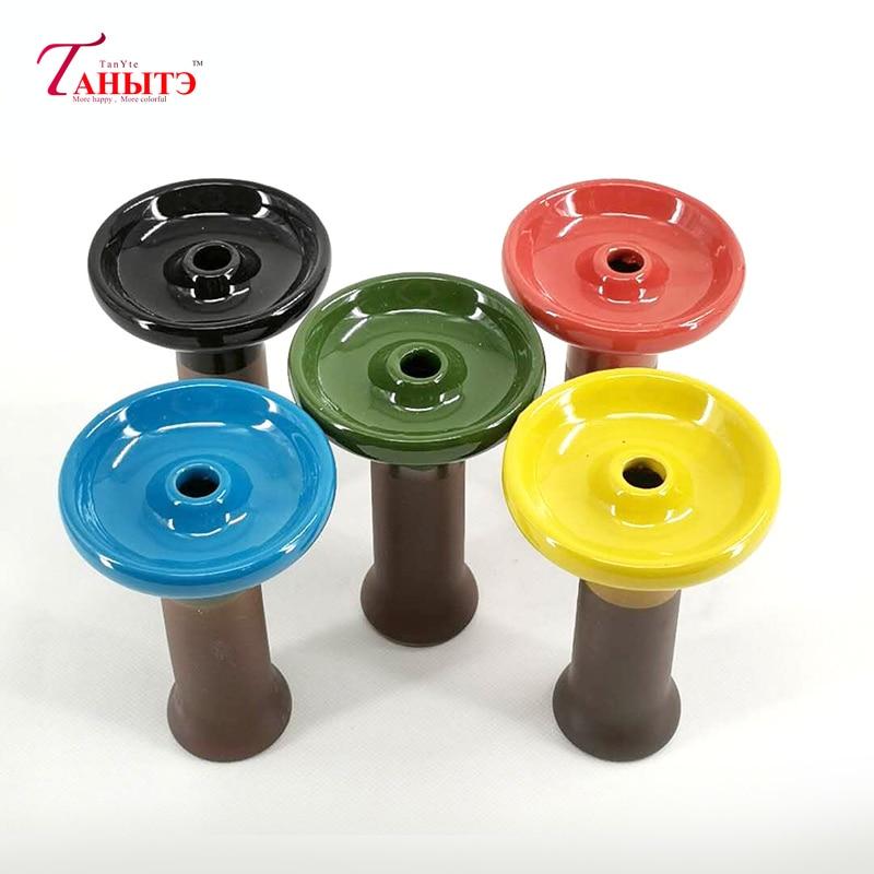 1pc Bong Bowl Two-color Mosaic Polka  Ceramic Hookah Shisha Bowl Single Hole Glaze Head Glass Water Pipe Charcoal Holder 1