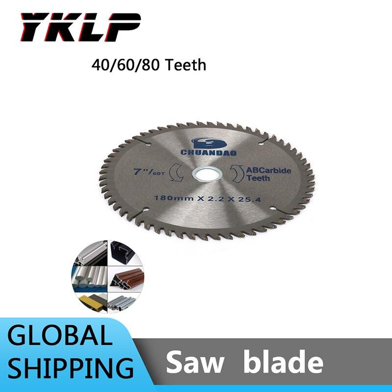 7 Inch 180MM Carbide Circular Saw Blade Carbide Alloy Cutting Tool For Aluminum Soft Metal 40/60/80Teeth