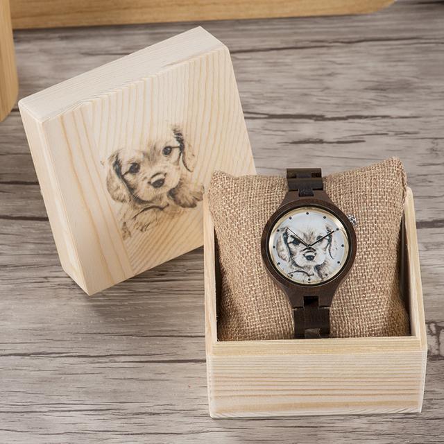 Customize Photo Wood Watch Women Personality Creative Design UV Customization Laser Print OEM Birthday Christmas Ladies Watches