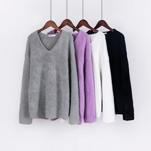 Toppies 2020 Winter sweater Woman White v-neck oversized Pullovers soft warm pullovers