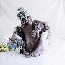 Di Orrore di Halloween Decorazioni Puntelli Zombie Fantasma Haunted House Prop Spaventoso Bar Decorazione Del Partito Ingannevole Incandescente Grido Giocattolo Del Cranio
