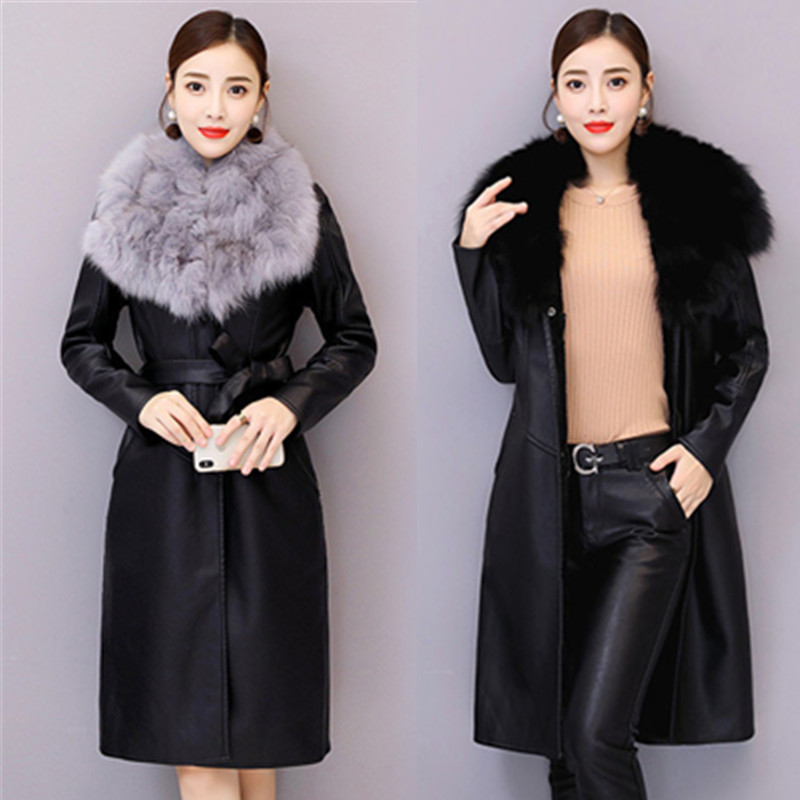 Sheep Leather Down Parka Women Fox Fur Collar Thicken Outwear Warm Coat US
