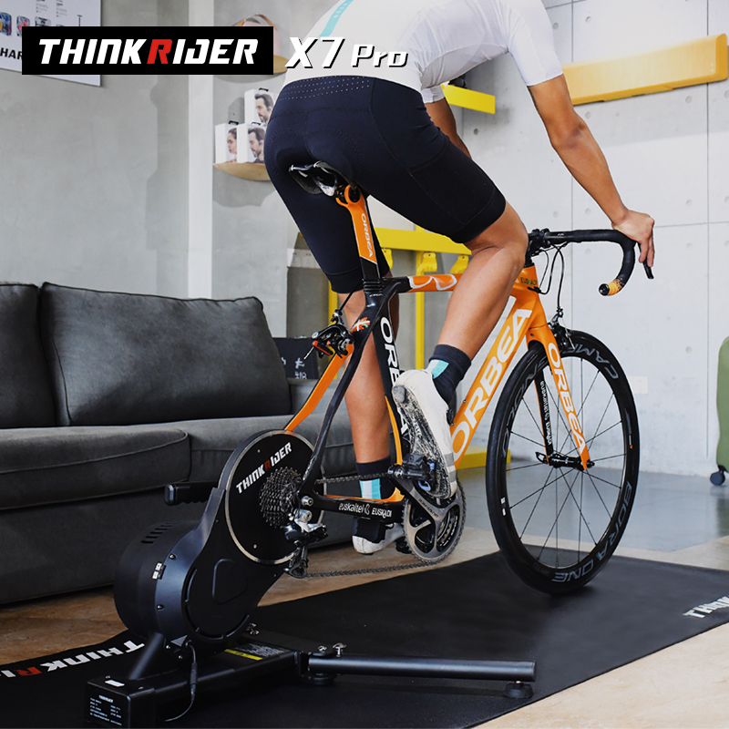 Thinkrider X7 プロスマートバイクトレーナーmtb道路自転車カーボンファイバーフレームにやさしい内蔵パワーメータergometer zwift perfpro