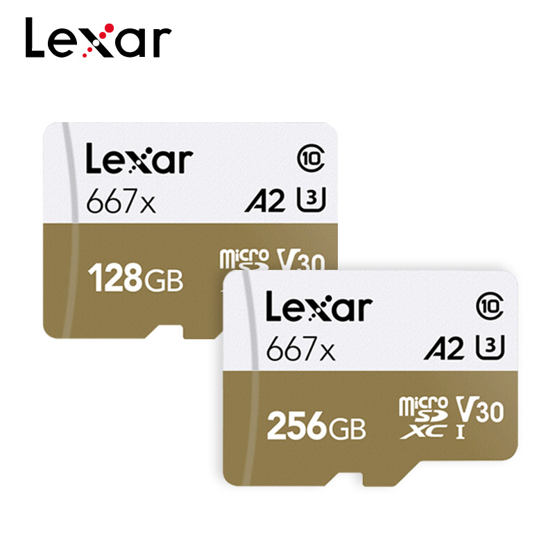 Lexar 667x Memory Card A2 Class 10 100MB/S V30 UHS-I U3 Professional MicroSD Card 128GB 256GB For 1080p Full-HD 3D 4K Video
