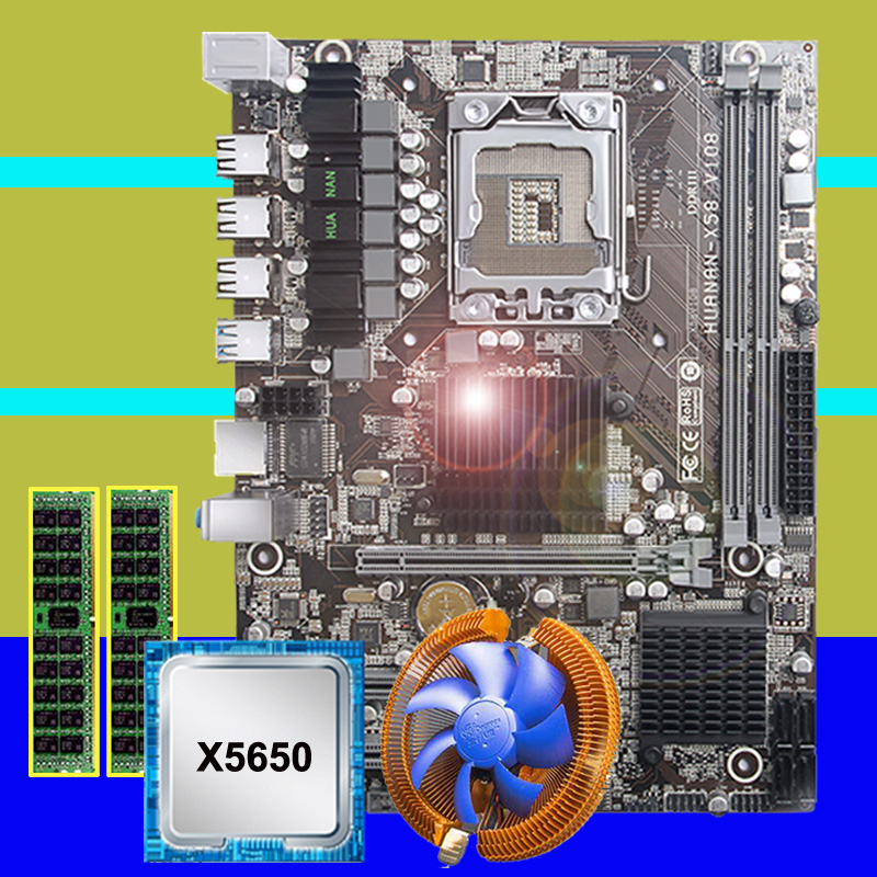 HUANANZHI X58 carte mère CPU RAM combos remise X58 LGA1366 carte mère CPU Intel Xeon X5650 avec refroidisseur RAM 8G (2*4G) REG ECC