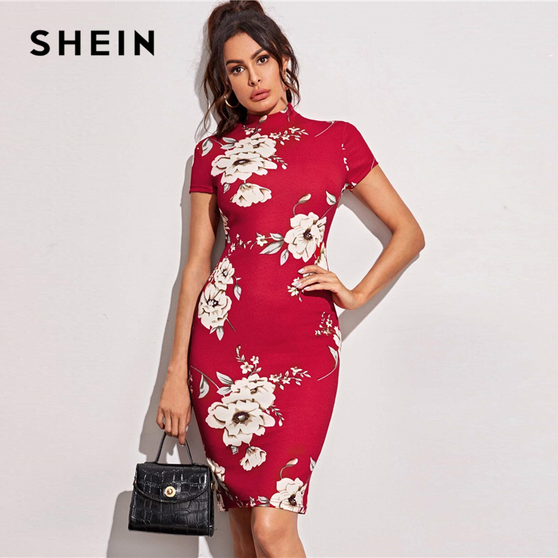 SHEIN Black Mock-Neck Floral Print Bodycon Dress Women 2020 Spring Stand Collar Short Sleeve Elegant Fitted Midi Dresses 4