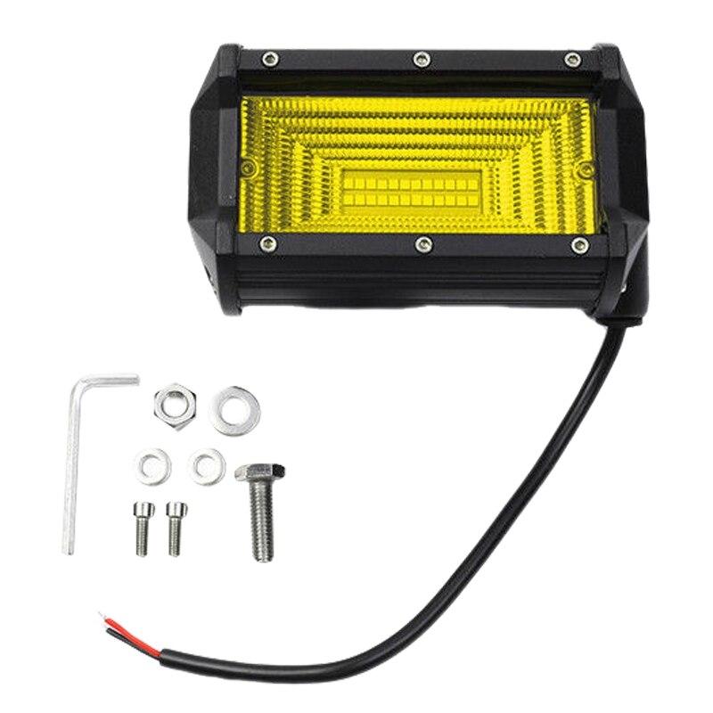 2X5 дюймов 144 Вт светодиодный рабочий свет бар прожекторный дальний светильник Грузовик Лодка внедорожный желтый