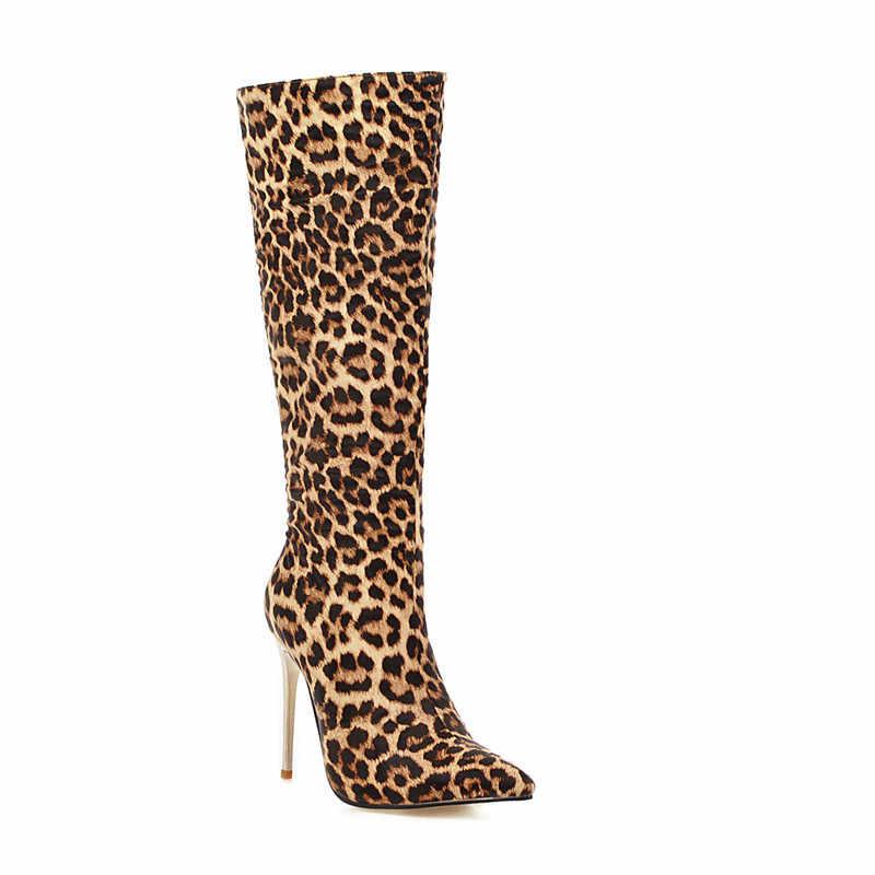 MORAZORA 2020 büyük boy 48 kadın diz yüksek çizmeler yılan sivri burun zip sonbahar kış çizmeler ince yüksek topuklu parti balo ayakkabı kadın