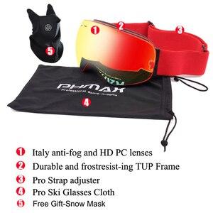 Image 5 - PHMAX להקת סנובורד סקי משקפי כפול שכבות משקפי משקפיים סקי UV400 הגנת שלג סקי משקפיים אנטי ערפל סקי מסכה