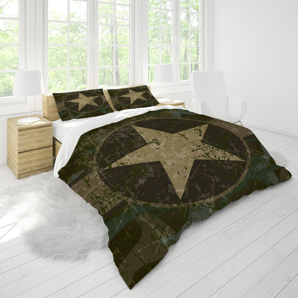 Bedding Set Duvet Cover Full Size Bedroom Online Company Kids Camouflage Five-Pointed Star Teen Home Textile Soft Quality Custom