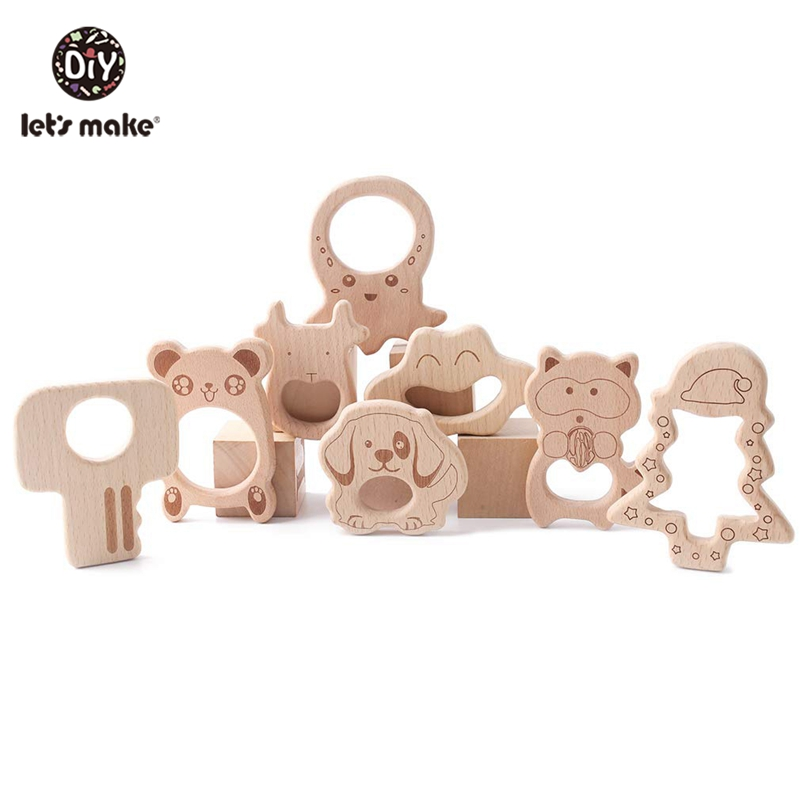 Let's Make Unicorn 10pc Beech Wooden Teether Baby Nursing Necklace Wooden Teether Horse Teething DIY Wood Charms