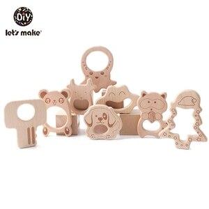 Image 1 - Lets Make Unicorn collar de dentición de madera de haya para bebé, mordedor de madera, dentición de caballo, abalorios de madera DIY, 10 Uds.