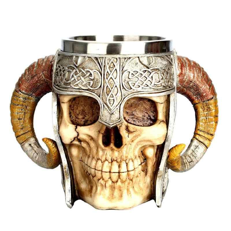 Stainless Steel Viking Warrior Skull Coffee Mug Horned Travel Skull Mug Beer Mug Tea Drinking Halloween Cup Bar Pub Items Aliexpress