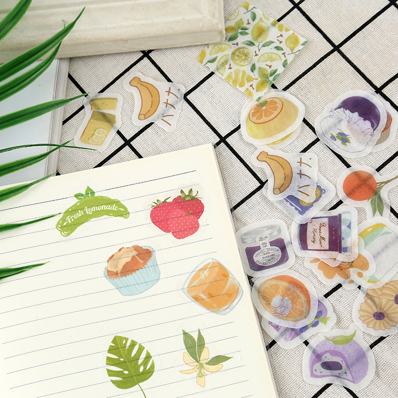 50 Pcs/Bag Fruit Strawberry Orange Paper Stickers Hand Account Decor Notebook Decorative Sticker