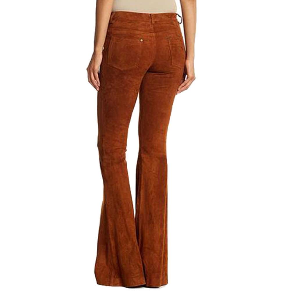 Vintage Vrouwen Retro Casual Hoge Taille Effen Kleur Wijde Pijpen Broek Bell-Bottom Broek Fashion Faux Suede vrouwen Broek S-5XL