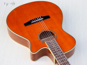 Image 5 - orange color Flamenco guitar thin body classic guitar cutway design high gloss finish 39 inch with EQ tuner function
