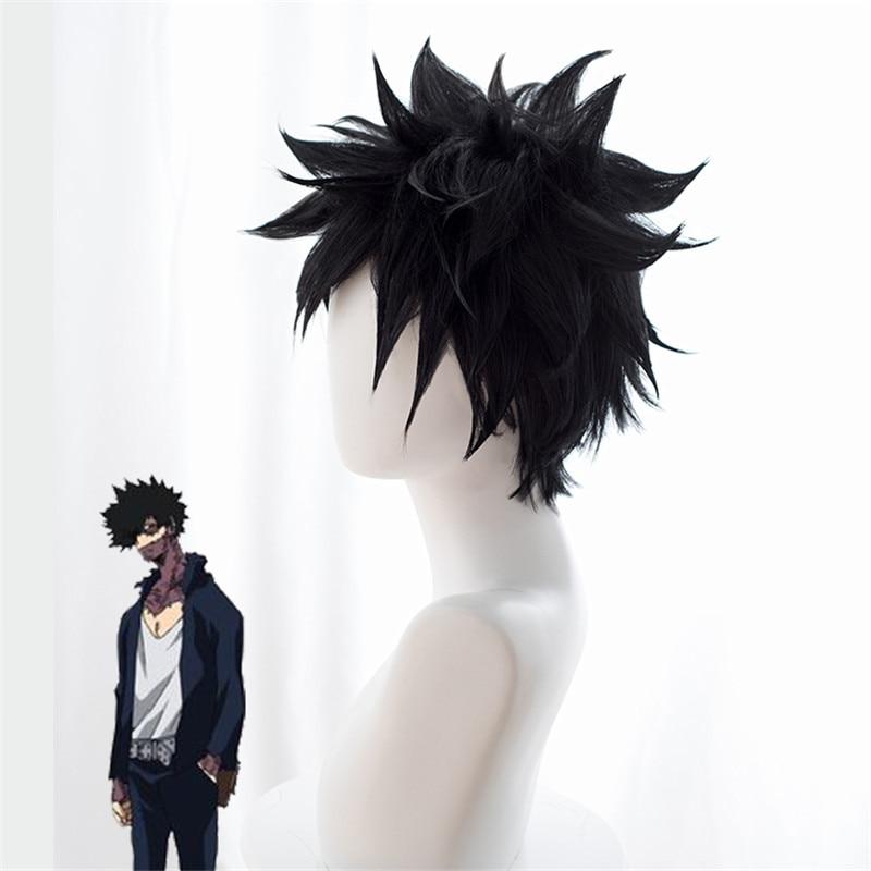 My Hero Academia Dabi Short Black Wig Boku no Hero Cosplay Synthetic Hair Midoriya Shoto Halloween Costume Party Wigs