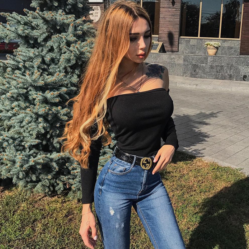 Off Simenual shoulder Sexy Bodysuit Women Long Sleeve Hot Fitness Teddy Bandage Black Slash Bodysuits Ladieswear Jumpsuits WFH03