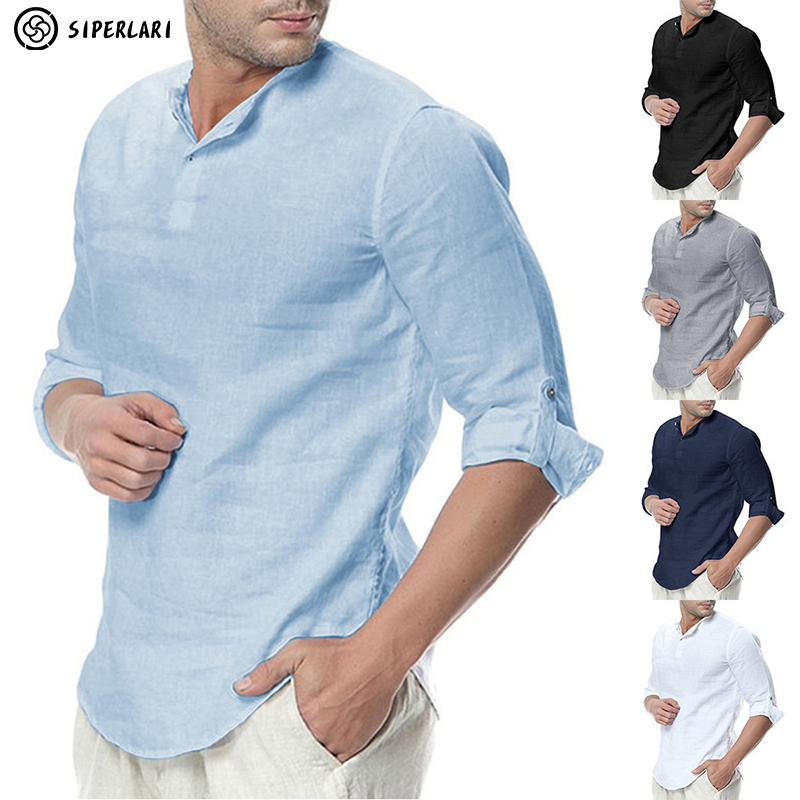 SIPERLARI Men's Long Sleeve Shirts Cotton Linen Casual Breathable Comfortable Shirt Fashion Style Solid Male Loose men's Shirts 1