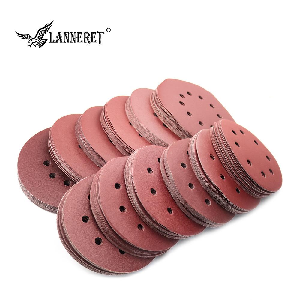 LANNERET 180mm/215mm Sanding Disc Sandpaper Assorted Holes 100/120/150/180/240/320 Grit  For Electric Dry Wall Sander Polisher