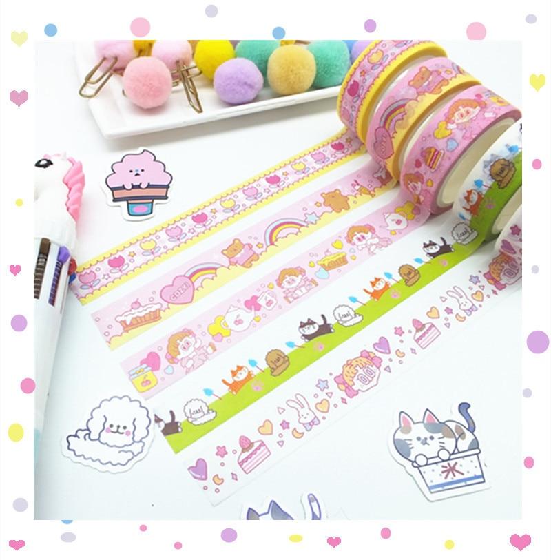 Cute Girl Heart Pink Grid Bullet Journal Washi Tape DIY Scrapbooking Sticker Label Rainbow Masking Tape School Office Supply