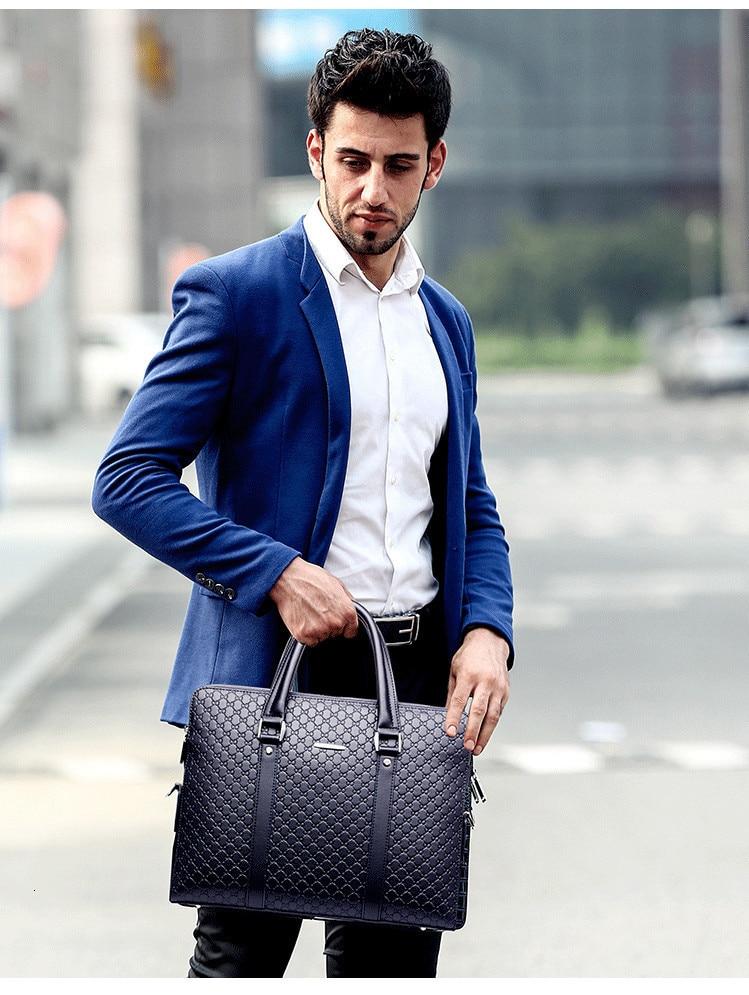 H13965fa3b71e486286da4188173ce29fF New Double Layers Men's Leather Business Briefcase Casual Man Shoulder Bag Messenger Bag Male Laptops Handbags Men Travel Bags