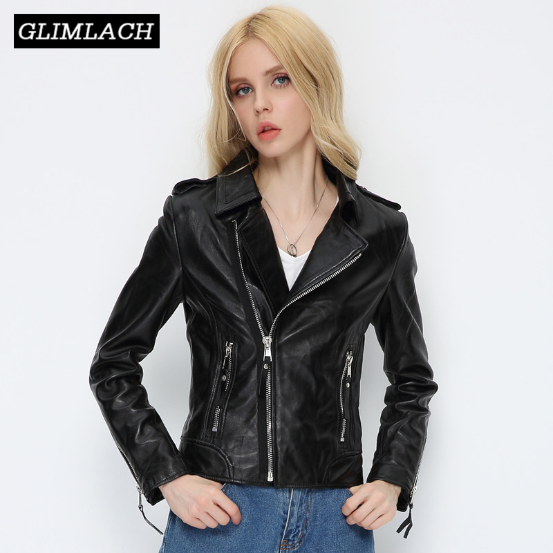 Women Black Lambskin Genuine Leather Jackets Autumn Slim Short Motorcycle Biker Coats Ladies Real Leather Outwear Chaqueta Mujer