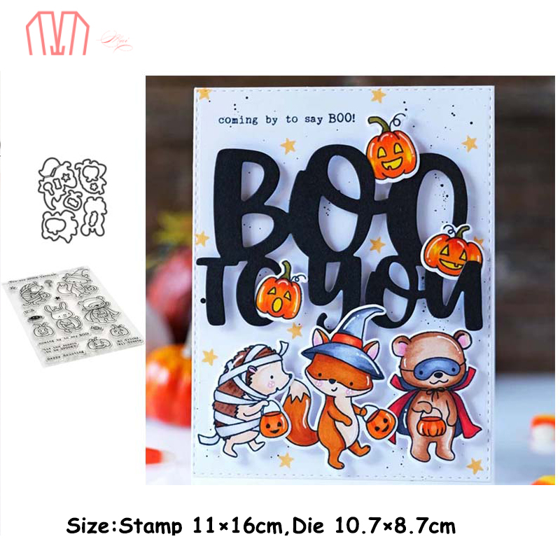 Mai <font><b>Halloween</b></font> Animal Party Metal Cutting <font><b>Dies</b></font> Stencils <font><b>Stamp</b></font> for DIY Scrapbooking photo album Decorative Embossing Paper Cards image