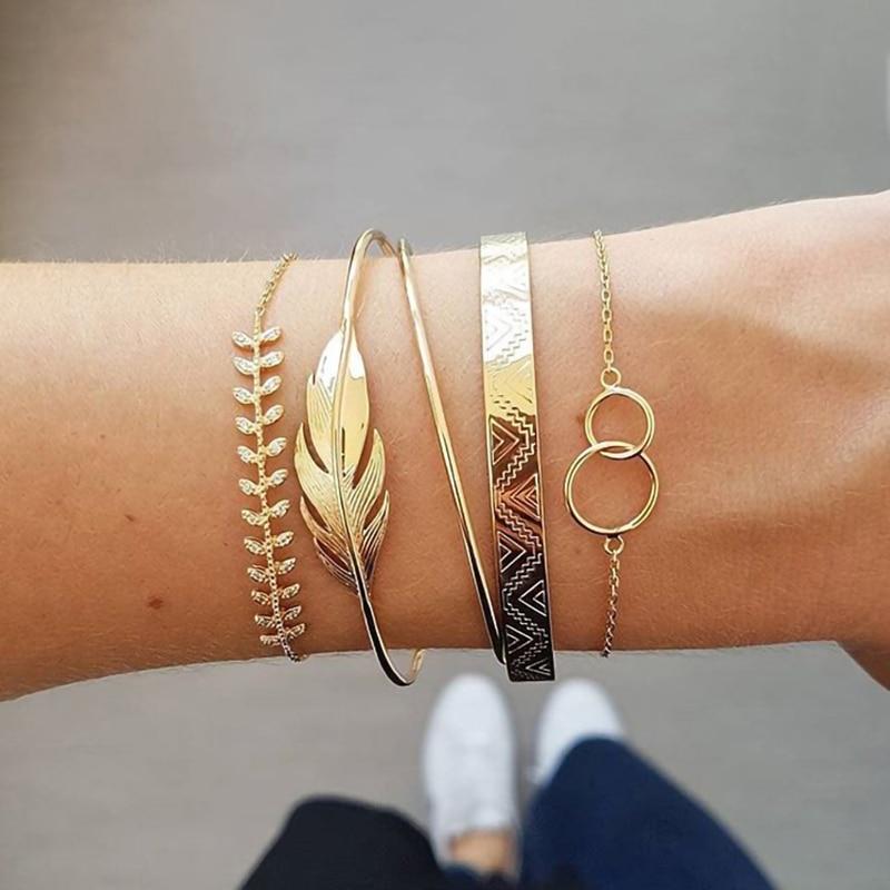 Modyle 5Pcs/set Bohemian Gold color Moon Leaf Crystal Opal Open Bracelet Set for Women Punk Boho Beach Bangle Jewelry Gift