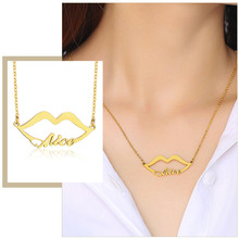 Elegant Lip Pendant Customize Name Women Chokers Rose Gold Tone Solid Stainless Steel Sexy Party Jewelry(China)