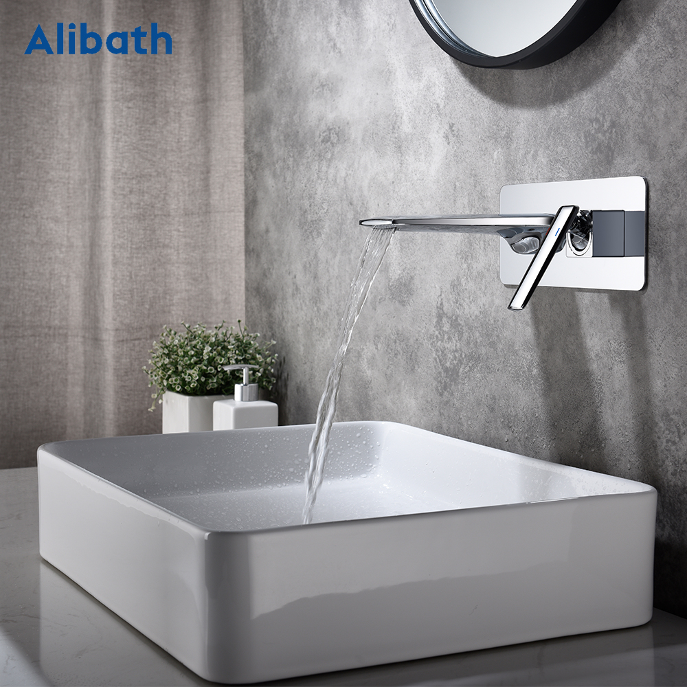 Free shipping Bathroom Basin Sink Faucet Wall Mounted Square Chrome Brass Mixer Tap With Embedded Box.