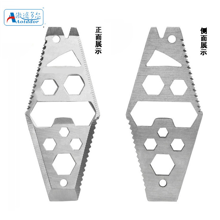 Outdoor Equipment EDC Rhombus Bottle Opener Multifunctional Tool Stainless Steel 6-in-1 Carry-on Tool And Other