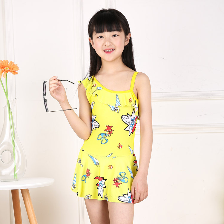 Cartoon Dress-Bathing Suit GIRL'S 2019 New Style Cute South Korea Students Middle And Large Girls Princess Swimwear Wholesale