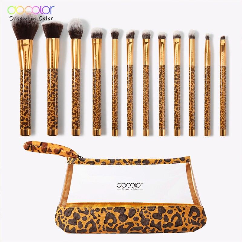 Docolor 12Pcs Make-Up Pinsel Kosmetik Powder Foundation Lidschatten Make-Up Pinsel Set Haar Synthetische Make-Up Pinsel mit Tasche