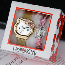 Lovely Children% 27s Watch Cartoon KT Cat Kids Watches With Bracelet Set And Box Leather Strap Stainless Steel Belt Girl% 27s Gift