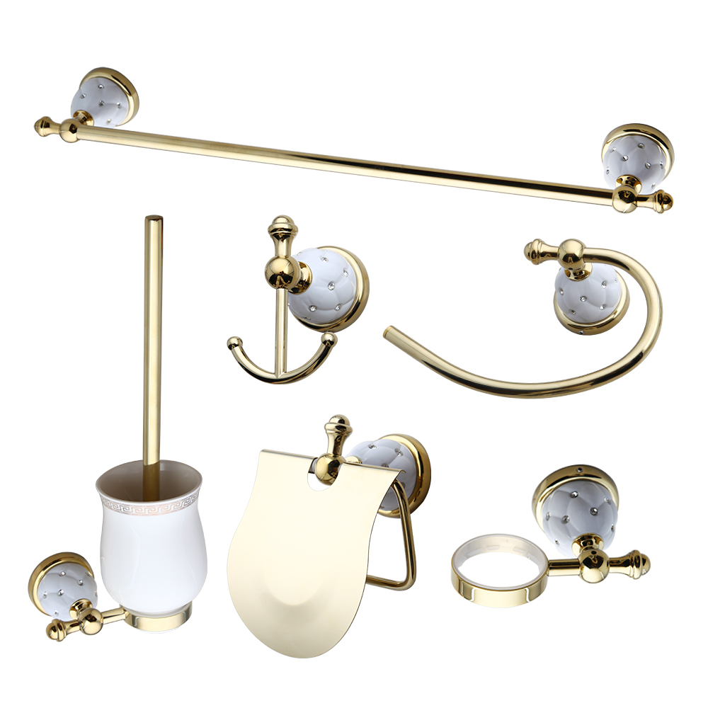 Bathroom gold parts Seven-piece set Towel Rack, Towel Ring Paper Holder hook up Toilet brush Bathroom Accessories