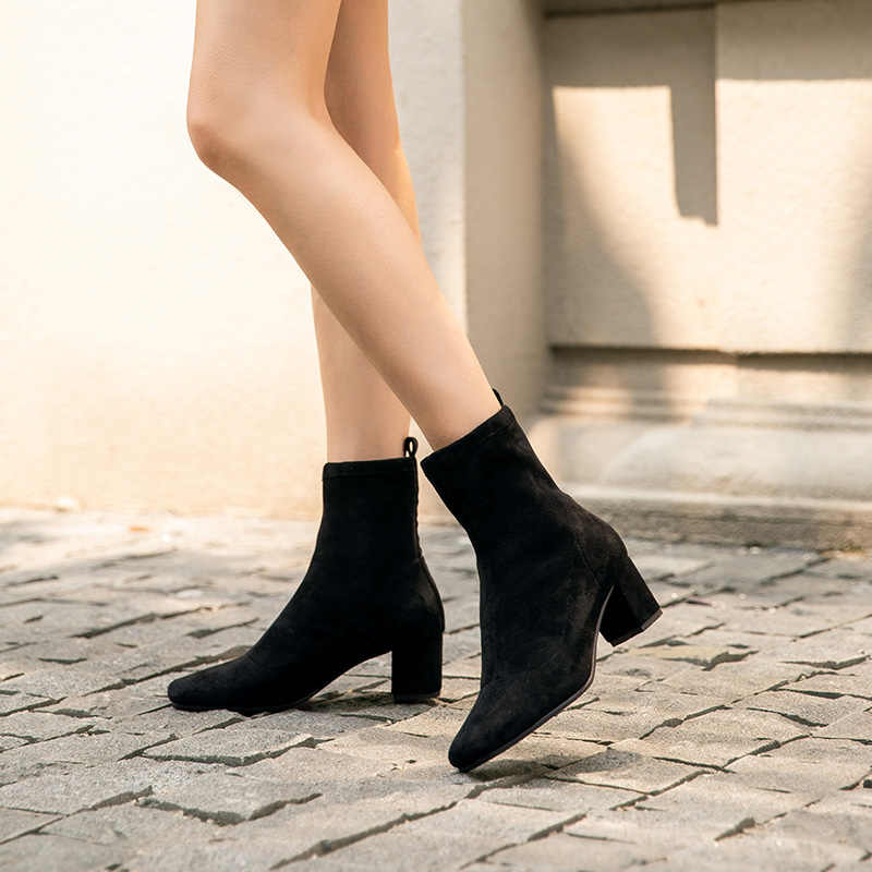 BeauToday Çorap Kadın Streç Kumaş Yuvarlak Toe Slip-On Elastik yarım çizmeler Sonbahar Kış Yüksek Topuk Ayakkabı El Yapımı 02404